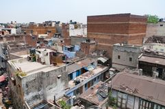 New Delhi India rooftops of Paharganj quarter. Area poor neighborhood on clear summer day, drying laundry Stock Photography