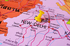 New delhi map. Macro shot of new delhi map with push pin Royalty Free Stock Images
