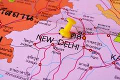 New delhi map. Macro shot of new delhi map with push pin Royalty Free Stock Images