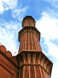 New Delhi: Minaret of Jama Masjid mosque, India Stock Image