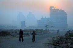 New delhi winter mornings and foggy haze, india. Early morning  sunrise cityscape in winter , new delhi Royalty Free Stock Image