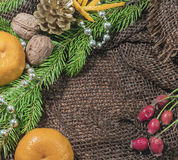 New design. Christmas design. On the table lay sacking tangerines, berries, branch of pine or spruce cones. Blank space for writin Stock Images