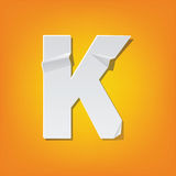 K capital letter fold english alphabet New design. The new design of the English alphabet, K capital letter was folded paper some of the letters. Adapted from Royalty Free Stock Images