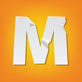 M capital letter fold english alphabet New design. The new design of the English alphabet, M capital letter was folded paper some of the letters. Adapted from Royalty Free Stock Photography