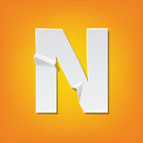 N capital letter fold english alphabet New design. The new design of the English alphabet, N capital letter was folded paper some of the letters. Adapted from Royalty Free Stock Images