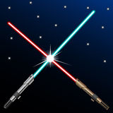New design red and blue crossed light swords on blue night sky background. Star wars concept. Vector illustration Stock Photo