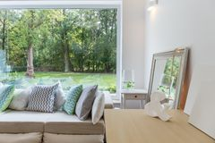 New design room with window. Photo of new design light room with big window royalty free stock photography
