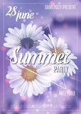New designe summer party flyer or poster template. Vector. New design summer party flyer or poster template. Vector. Lilac colors Stock Images