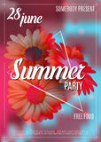 New designe summer party flyer or poster template. Vector. New design summer party flyer or poster template. Vector. Red blue colors Royalty Free Stock Image