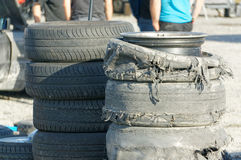 New and destroyed tires and burnt tire tread on car drifting Stock Photo