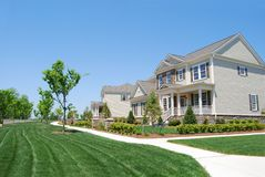New development. New houses in a neighborhood Royalty Free Stock Photos