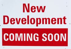 New Development Coming Soon Notice Royalty Free Stock Photo