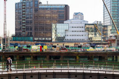 New development construction site on Bank Street in Canary Wharf Royalty Free Stock Photo