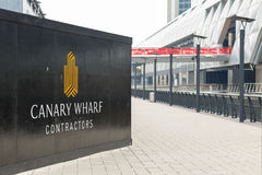 New development construction site in Canary Wharf. London, UK - May 24, 2017 - New development construction site in Canary Wharf with Crossrail station in the Stock Image