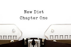 New Diet Chapter One Typewriter. New Diet Chapter One printed on retro typewriter stock images