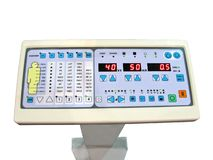 New digital control panel, anatomy patient test. New digital control panel display with many led isolated on white background. dial keypad, lower power royalty free stock image