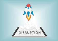 New digital disruption with disruptive business models with new technology. Rocket launching from smart phone or tablet with fire and smoke Royalty Free Stock Image