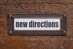 New directions  tag - file cabinet label Stock Image