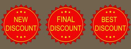 New discount, final discount, best discount. Illustrations Royalty Free Stock Images