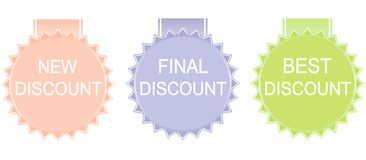 Vector  discount label set. New discount, final discount, bestdiscount label set Stock Photography