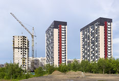 New district in city is under construction. New district of high-rise buildings in city is under construction Royalty Free Stock Image