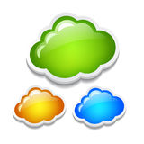 Cloud icon. Vector clouds set over white Stock Photography