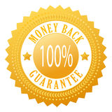 Money back icon. Money back vector gold seal Stock Photography