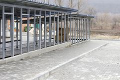 New dog shelter enclosures. Charity and mercy theme, animal shelter, dog rescue, volunteer work royalty free stock photo