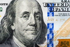 The new 100 dollar bill, close up Franklin's face.  stock image