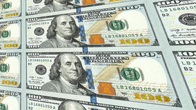 New 100 dollar bills in distance 3d perspective. Sheet of new one hundred 100 dollar bills moving away to distance 3d perspective Royalty Free Stock Photography