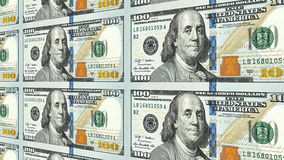 New 100 dollar bills in distance 3d perspective. Sheet of new one hundred 100 dollar bills moving away to distance 3d perspective Royalty Free Stock Photo