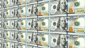 New 100 dollar bills in distance 3d perspective. Sheet of new one hundred 100 dollar bills moving away to distance 3d perspective Royalty Free Stock Photos