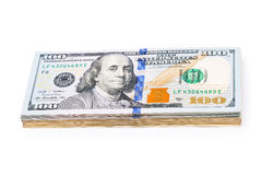 New 100 dollars by close up Royalty Free Stock Images
