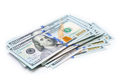 New 100 dollars by close up. New 100 dollars isolated on a white background Royalty Free Stock Photo