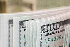 New 100 dollars by close up Stock Image