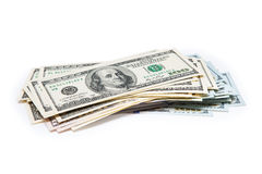 New 100 dollars by close up. New 100 dollars isolated on a white background Stock Images