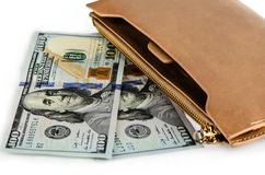 New Dollars and purse Stock Photography