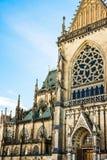 New dome Mariendom gothic cathedral in Linz, Upper Austria, main portal vi. New dome gothic cathedral in Linz, Upper Austria, main portal view, architectural Stock Photo