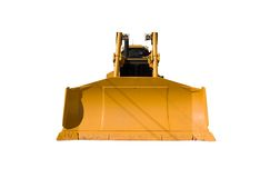 New Dozer Front View. This is a front view of a new bulldozer isolated on white Royalty Free Stock Photo