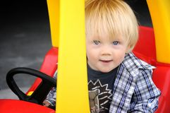 New driver. Learning to drive in his new car Royalty Free Stock Image