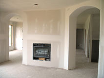 New Drywall with fireplace Stock Photo