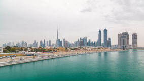 The new Dubai Water Canal with view on the city skyline timelapse, United Arab Emirates stock video footage