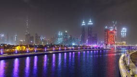 The new Dubai Water Canal with view on the city skyline timelapse, United Arab Emirates stock video
