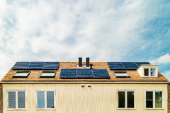 New Dutch houses with solar panels Royalty Free Stock Photography