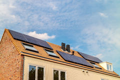 New Dutch houses with solar panels Royalty Free Stock Images