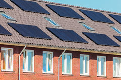 New Dutch houses with solar panels Stock Images