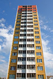 The New dwelling. The Apartment building is brightly painted.Selling the apartments Stock Image