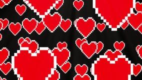 Many pixel heart fly up like balloon animation black background new dynamic holiday retro joyful colorful vintage video. New dynamic holiday retro joyful stock video footage