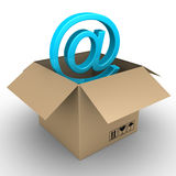 New e-mail just arrived. 3d e-mail symbol inside of open carton box Royalty Free Stock Images