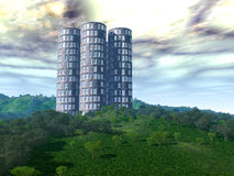New Earth 4. A modern building in a beautiful forest Stock Photos